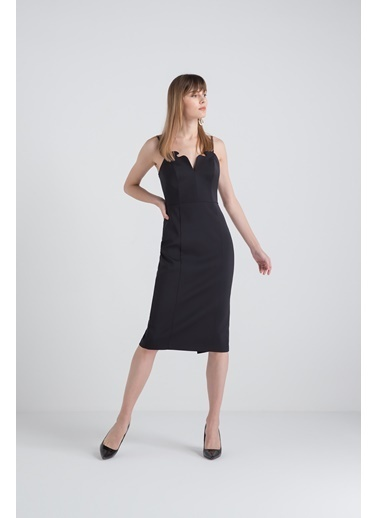 Rue Yaka Detaylı Abiye Elbise Siyah